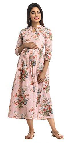 ANAYNA Women's Cotton Floral Printed Long Maternity Dress (Pink) (XXL)