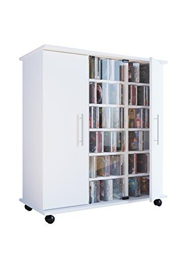 VCM Regal DVD CD Rack Medienregal Medienschrank Aufbewahrung Sideboard Standregal Möbel Weiß Mobil 98x86x39 cm