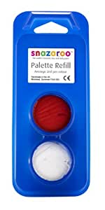 Snazaroo Face Paint Palette refills, 2 x 2ml, Bright Red and White
