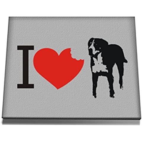 Teeburon I love Greater Swiss Mountain Dog SIlhouette Tela muro arte 12 x 8 Inch
