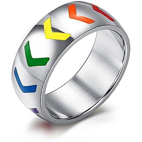 LianDuo Gay Lesbiche LGBT in acciaio inossidabile arcobaleno Orgoglio Wishbone Smalto Anelli fascia d'argento,Larghezza 8