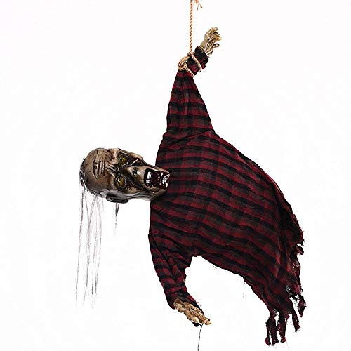 TYUBN Sound Control Gruselig Scary Animierte Skeleton Ghost Halloween Horror Requisiten Langes Haar Hängende Geist Halloween Dekorationen Geschenk