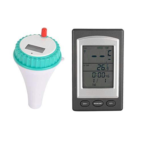 gfjfghfjfh Professionelle WD1228 Badewanne Thermometer drahtlose Innen- und Außenpool Thermometer mit Alarm & Clock & Date -