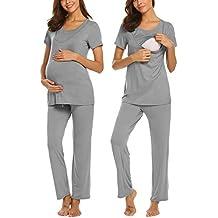 f5c5767cf9 UNibelle Damen Stillpyjama-Umstandspyjama-Schlafanzug Zweiteilig Hausanzug  Pyjamas Kurzen Ärmeln Lang Hosen mit Stillfunktion
