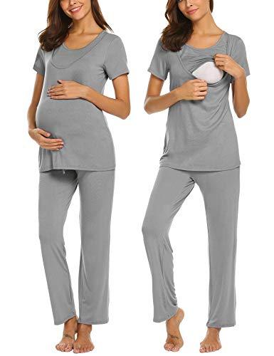 Unibelle Kurzer Stillpyjama-Umstandspyjama-Schlafanzug für Schwangerschaft-Stillzeit, Leichtes Viskose-Jersey für Frühling-Sommer -
