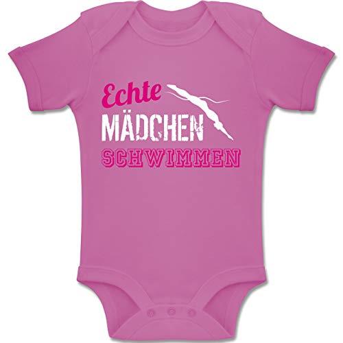 Sport Baby - Echte Mädchen Schwimmen - 3/6 Monate - Pink - BZ10 - Baby Body Kurzarm für Jungen und Mädchen