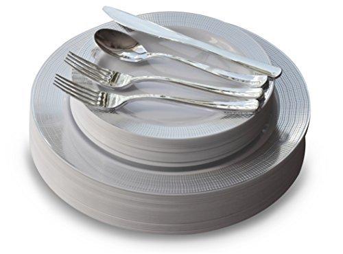 Occasions 150 Stück Set / 25 Gast - Hochzeit Kunststoff Teller & Besteck - Einwegschwergewicht Essgeschirr 10.5 '', 7.5 '' + Silber w/Doppelgabel (Leine Weiß und Silber)