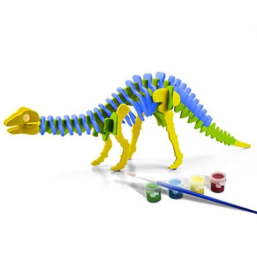 Funria 3D madera DIY rompecabezas hechas a mano montar modelos de juguetes modelo animal con herramientas de pintura para niños y adultos (Brontosaurio)