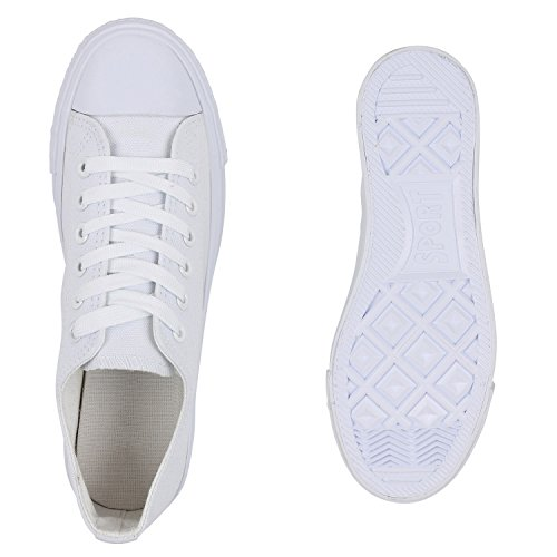 Damen Sneakers Stoffschuhe Trendfarben Schnürer Schuhe Weiß