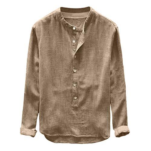 POIUDE Herren Stehkragen Leinen Hemd Henley Langarm-Button Casual T-Shirts Leinen und Baumwolle Lose Bluse L-4XL(Khaki, XL) Swat-team Hose