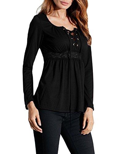 StyleDome Camicetta Blusa T shirt Manica Lunga Casual Elegante Sexy Ufficio V-collo per Donna Nero IT 44