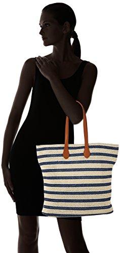 Pezzi Damen Pclibine Straw Bag Henkeltasche, 12 X 41 X 38 Cm Mehrfarbig (navy Blazer)
