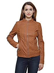 MansiCollections Classic Brown Leather Jacket for Women