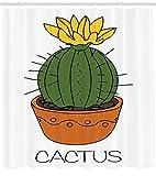 Abakuhaus Duschvorhang, Comic Handgemaltes Kaktus Design mit Blute mit Cactus Beschriftung Unter Design Druck, Blickdicht aus Stoff inkl. 12 Ringen Umweltfreundlich Waschbar, 175 X 200 cm