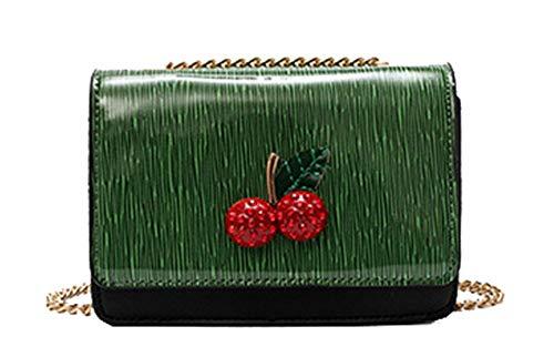 Screenes Handtaschen Damen Pu Leder Frauen Mode Kirsche Umhängetasche Casual Elegant Einfacher Stil Kette Frauentasche Schlicht Klein Messenger Bag (Color : Grun, Size : One Size) -