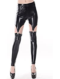 LSWA Leggings Gothic Straps Leder Latex Lace Spitze Optik look destroy graffiti destress LG2016