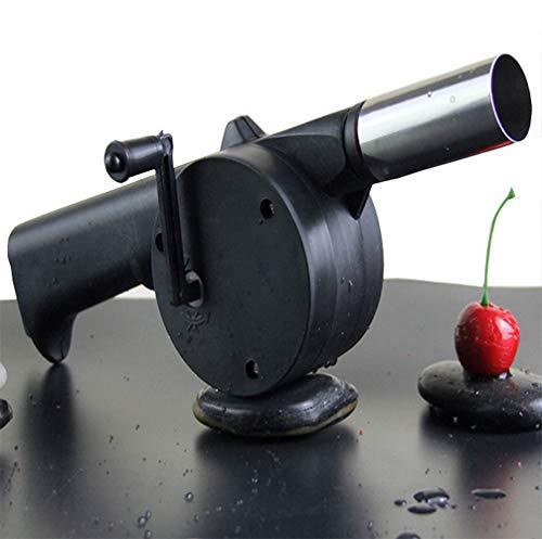 Qiluck Holzkohlegrill im Freien Grillgeblaese Handbetrieben, schwarz