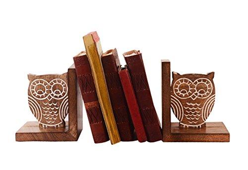 Purpledip Buchstützen Ständer Halter Holz Bücherregal Organizer 'Wisdom of the Jungle': Einzigartige Dekor Geschenk für Book Lovers (11067) Standard-bücherregal