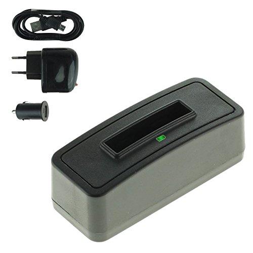 Single-Ladegerät (Netz+Kfz+USB) für Rollei RL410B / Rollei Action Cam 230, 240, 400, 410 / Maginon AC-800W