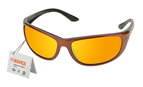 Elvex rsg201Impact Sonnenbrille, Kupfer/Schwarz Rahmen/Orange Spiegel Objektiv -