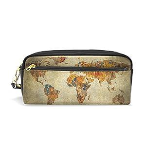 zzkko Vintage mapa del mundo funda de piel cremallera lápiz pluma estacionaria bolso de la bolsa de cosméticos bolsa bolso de mano
