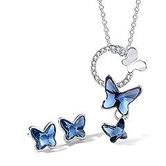 Idea Regalo - T400 Jewelers Collana e Orecchini per Donna Dream Chasers Farfalla con Elementi in Cristallo,Set di Gioielli Regali per Ragazze Donne