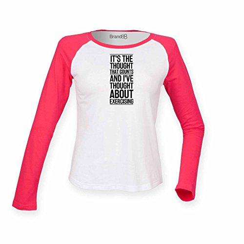 Brand88 - Thought About Exercising, Damen Langarm Baseball T-Shirt Weiss & Rosa