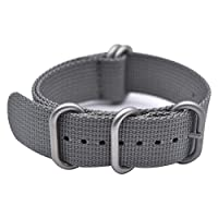 BarRan Knitted Nylon Breathable Waterproof Watch Strap Watch Band with Stainless Steel Silver Nato Buckle - Choose Width & Color - 18mm,20mm,22mm