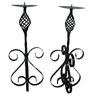 Wimborne wrought iron works Candle holder candlestick 18in set of two (Black)