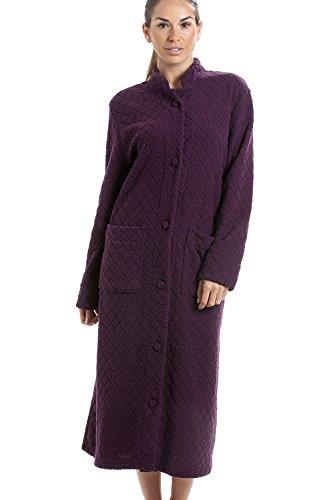 Robe de chambre longue - à boutons/en polaire douce - motif floral - violet 44/46