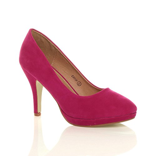 WOMENS LADIES MID HIGH HEEL PLATFORM WORK EVENING COURT SHOES PUMPS SIZE...