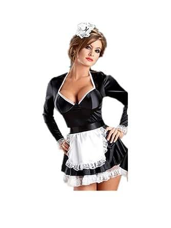 I-Sexy Noir Femme Allumeuse Flirteuse Soubrette Fran?aise Costume Halloween Roleplayer Taille Unique