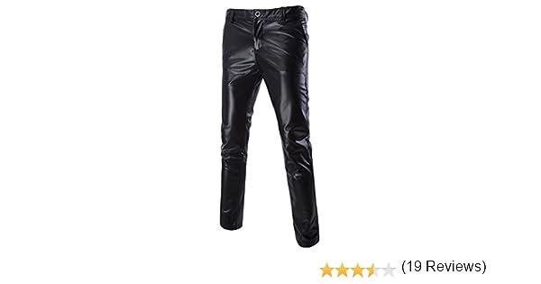 nightclub color oro e argento Pantaloni casual da uomo in ecopelle metallizzata lucida cosplay Nero  L per golf taglio dritto