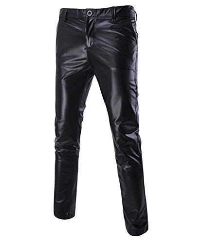 Sliktaa Pantalones de Cuero para Hombre Slim Fit Cut Club Nocturno Fiesta Estampado en Caliente Tejidos Ligeros con Bolsillos