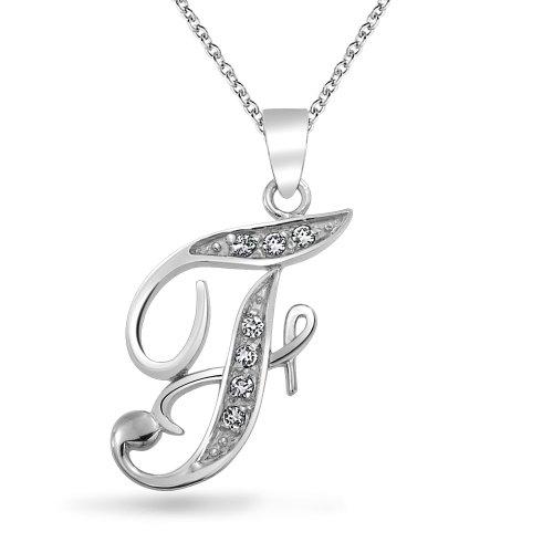 Bling Jewelry CZ Cursive Alphabet Letra F chapados en rodio Colgante Collar de 16 pulgadas