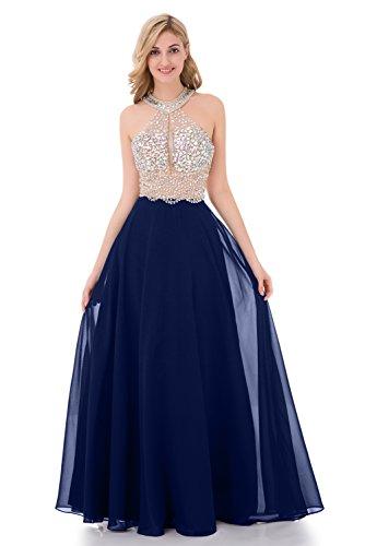 Baijinbai Sparkly Kristall Friesen Prom Kleider lang 2017 Sexy Open Back Partei Ballkleid Schaufel Brautjungfernkleider Royal Blue-UK10