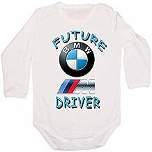 T-Shirt Design BG - Body para bebés (diseño con logotipo de BMW y texto Future Driver, manga larga), color blanco