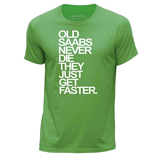 stuff4-mens-large-l-green-round-neck-t-shirt-old-saabs-saab-never-die