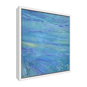 Feel Good Art Giclée Printed Canvas with Solid White Wooden Frame Surround &ltBluebell, Abstract&gt 42 x 42 x 3cm (Medium), Wood Multicoloured, 42 x 42 cm
