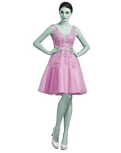 Izanoy Damen V-Ausschnitt Heimkehrkleid Applikationen Perlen Brautjungfer Kleider Erröten