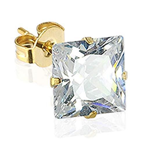 Autiga Ohrstecker 14 Karat 585 Echtgold eckig Damen Herren Ohrringe Zirkonia Kristall gold 8 mm (Herren Ohrringe Ohrstecker Kristall)