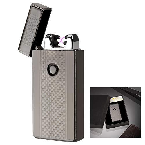 AKUNSZ Mechero Eléctrico, USB Encendedor Doble Arco Eléctricos ( Más Avanzado ) Carga Rápida de 1.5 horas Resistente al Viento sin Llama USB Recargable Lighter [ Cable USB y Caja de Regalo Incluidos ]