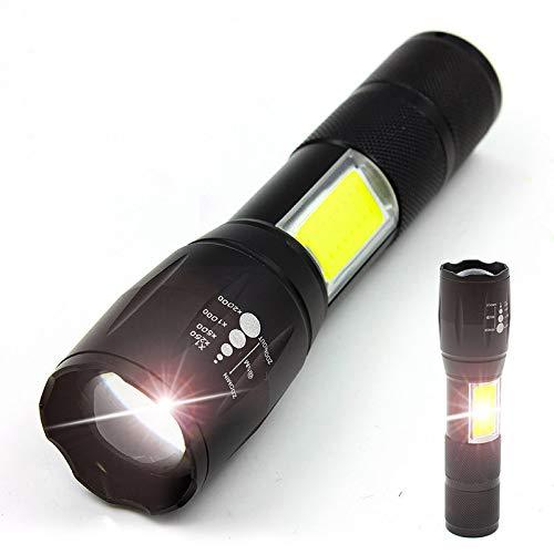 Blendung Taschenlampe, Zoom Taschenlampe, taktische Taschenlampe, Zoom taktische Taschenlampe taktische TaschenlampeA077 Silberring [T6 Birne COB weißes Licht] (einzelne Taschenlampe) -