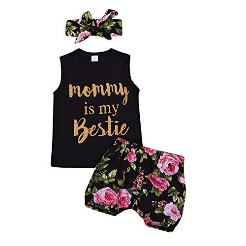 Haokaini Säugling Baby Mädchen Weste Shorts Set, Mama ist Mein Bestie Tank Tops Floral Hosen und Stirnband Outfit (Color : Black, Size : 2-3T) (Kleidung Veranstalter Für Kinder)