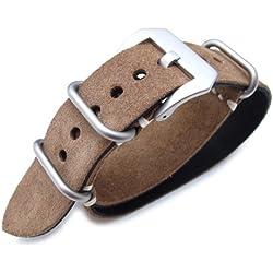 MiLTAT 22mm Nubuck Leather Grezzo Zulu watch strap Brown Thick armband - Beige Hand Stitch