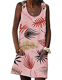 Elapsy Womens Summer Casual Beach Dress Buttons Strap Tank Shift Mini Dress with Pocket