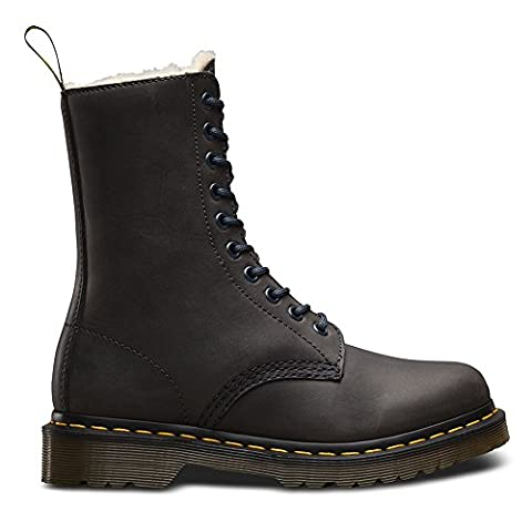 Dr.Martens Womens 1490 Wildhorse Fur Lined Graphite Leather Boots 41 EU