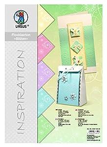 Ursus 60414699 - Papel de calco de Flores, 5 Hojas, 220 g/m², DIN A4, 5 Colores Pastel, teñido, con Flocado Blanco, Color Pastel