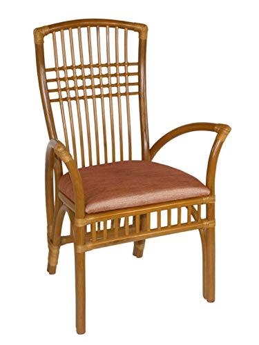 casamia Rattan-Stuhl mit Armlehnen Schütz Farbe Miele, mit Sitzkissen Lino Cherry