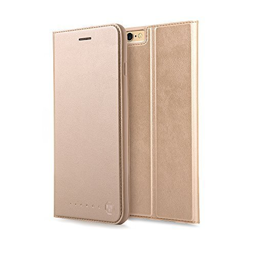 Nouske iPhone 6 6s 4.7 Zoll Stand Hülle Etui with Karte Halterung Leder Wallet Klapphülle Flip Book Case TPU Cover Bumper Tasche Ultra Slim, Gold